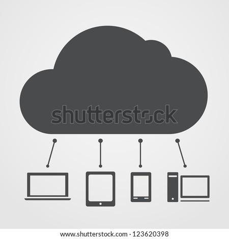 Cloud technology abstract scheme - stock vector