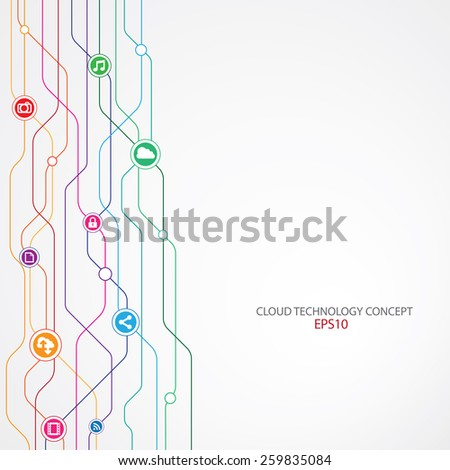 Cloud Technology Connection background. - stock vector