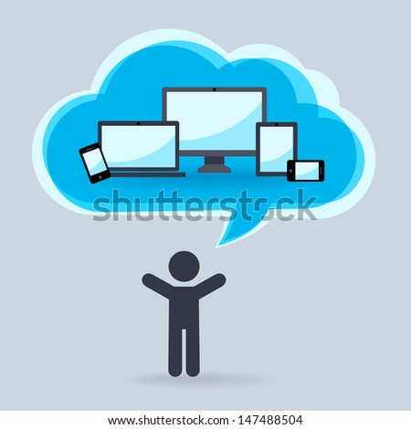 Cloud technology for  different devices - stock vector