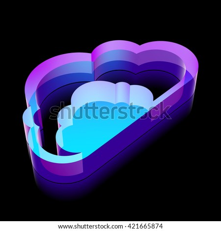 Cloud technology icon: 3d neon glowing Cloud made of glass with reflection on Black background, EPS 10 vector illustration. - stock vector