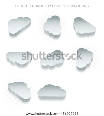 Cloud technology icons set: different views of flat 3d metallic Cloud icon with transparent shadow on white background, EPS 10 vector illustration. - stock vector