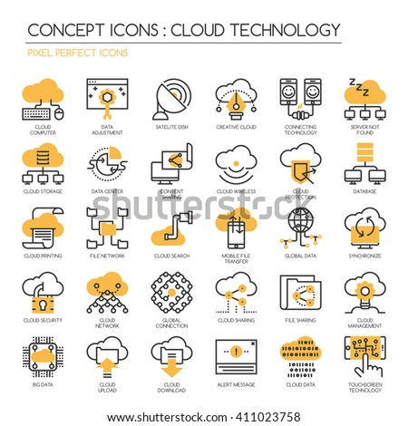 Cloud Technology , Pixel perfect icons , Thin line icons set ,Pixel Perfect Icons - stock vector