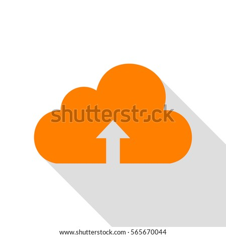 Cloud technology sign. Orange icon with flat style shadow path.