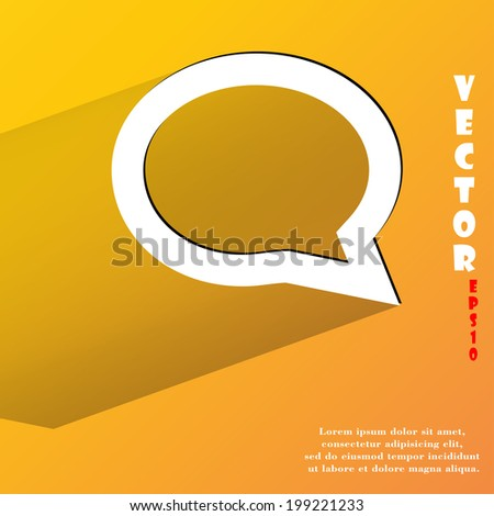 cloud thoughts. Flat modern web button with long shadow and space for your text. Vector. EPS10