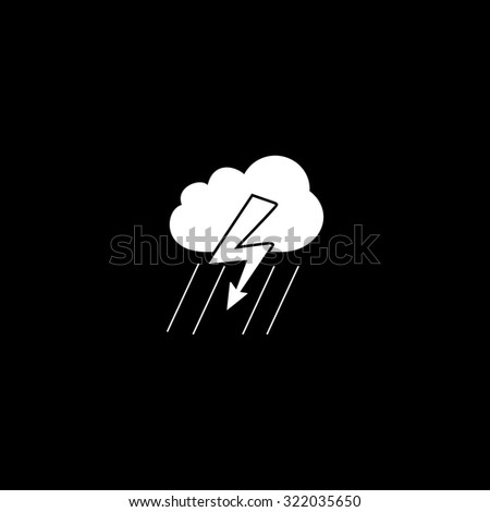 Cloud thunderstorm lightning rain. Simple flat icon. Black and white. Vector illustration - stock vector