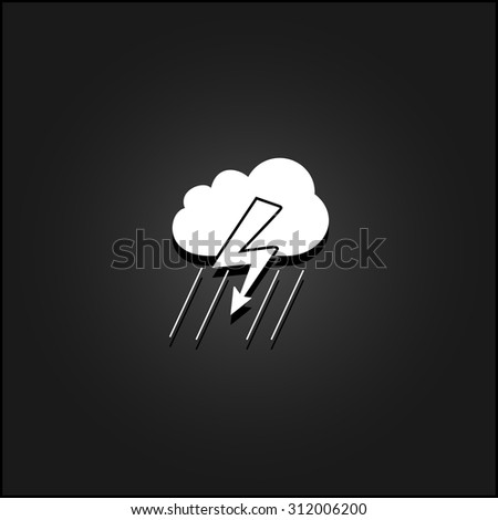 Cloud thunderstorm lightning rain. White flat simple vector icon with shadow on a black background - stock vector