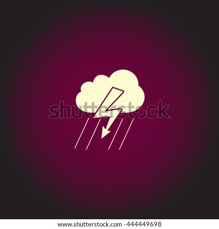 Cloud thunderstorm lightning rain. White vector icon on dark background. Flat pictogram - stock vector