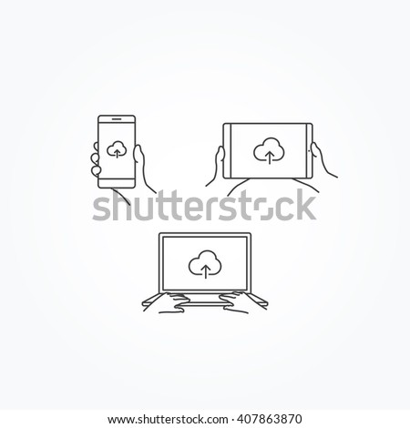 cloud upload icon on phone tablet stock vector 407863870 shutterstock