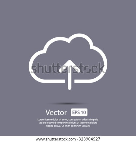 Cloud upload, linear icon. One of a set of linear web icons