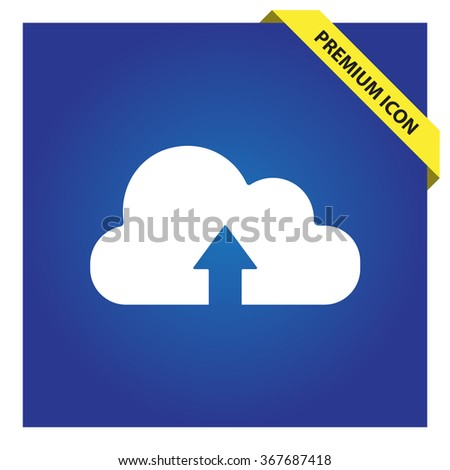 Cloud uploading sign icon