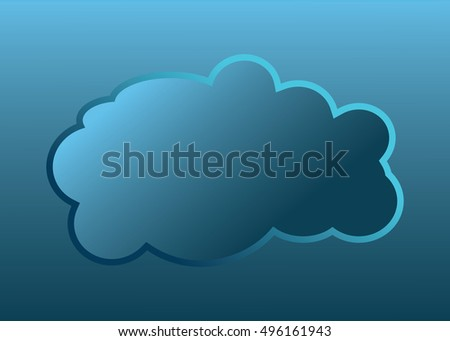 Cloud vector icon blue color on blue background. Sky flat illustration collection for web, art and app design. Different nature cloudscape weather symbols.