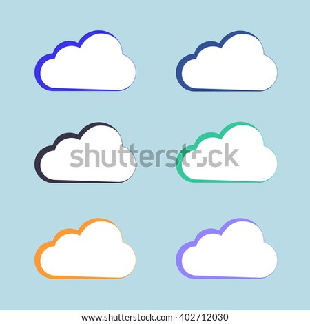 Cloud vector icon set white color on blue background. Sky flat illustration collection for web, art and app design. Different nature cloudscape weather symbols. - stock vector