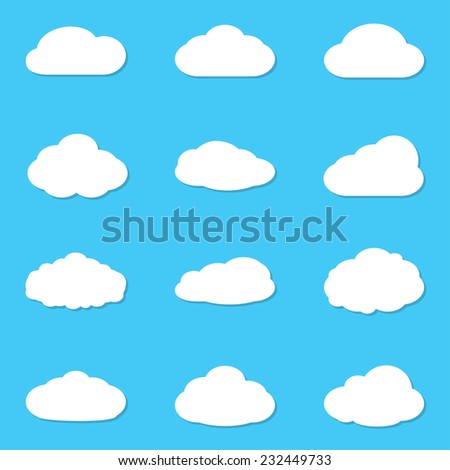 Cloud vectors icon set. White clouds collection isolated on blue sky background. Vector illustration.