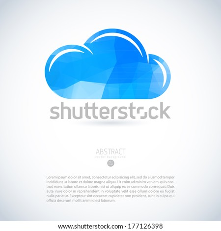 Cloud virtual storage emblem with modern triangle pattern