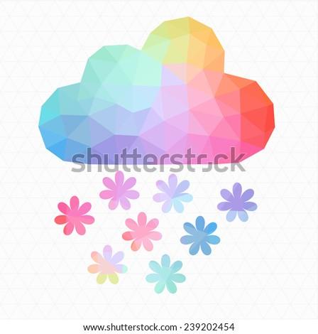 cloud weather flat icon app vector polygon - stock vector