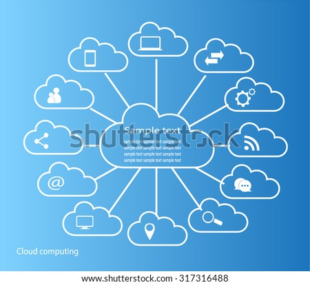 Cloud white computing in circle with blue background technology and media icons vector