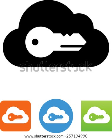 Cloud with a key. Vector icons for video, mobile apps, Web sites and print projects.  - stock vector