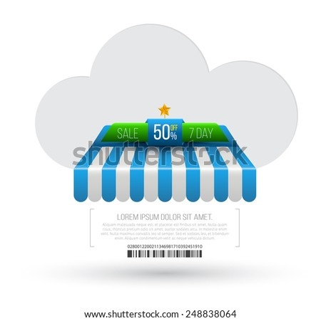 Cloud with awning. Vector illustration. Can use for promotion banner. - stock vector