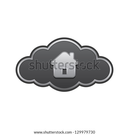 Cloud with Home - stock vector