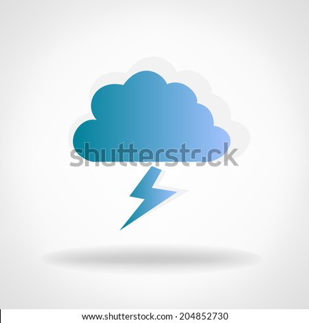 cloud with lightning - stock vector
