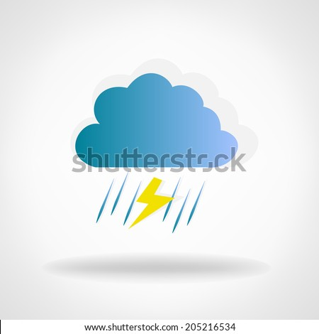 cloud with rain and lightning - stock vector