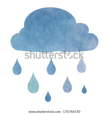 cloud with rain drops - vector illustration in watercolor style - stock vector