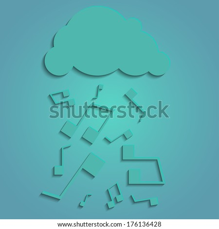 Cloud with rain of music notes