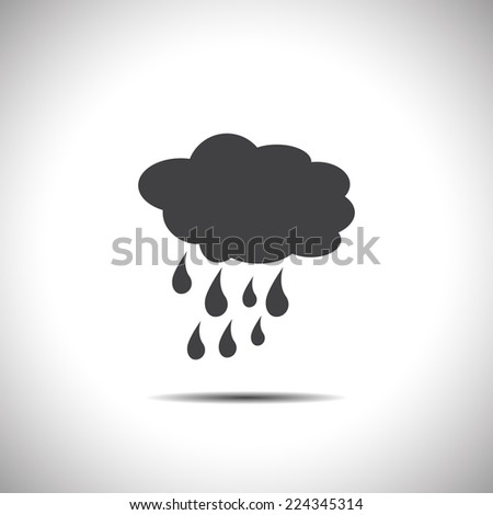 cloud with rain weather vector icon - stock vector