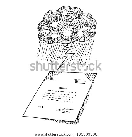 Cloud with storm and document - stock vector