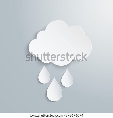 cloud with three drops of white color - stock vector