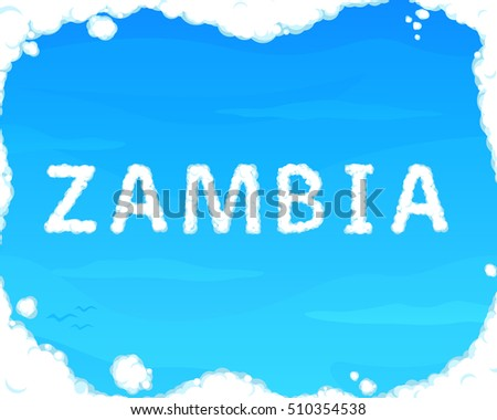 "Cloud ""Zambia"" on Blue Sky for Web, Mobile and Presentations"