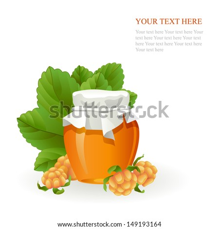 Cloudberry jam jar with fresh berry isolated on white background - stock vector