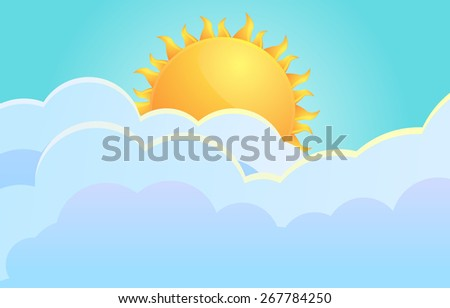 Clouds and a sun vector illustration