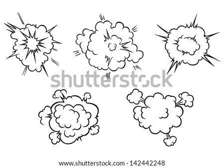 Clouds and explosions set in cartoon style isolated on white background for comics or another design. Jpeg version also available in gallery  - stock vector