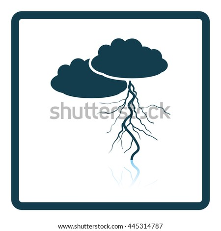 Clouds and lightning icon. Shadow reflection design. Vector illustration.