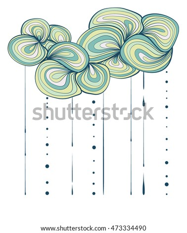 clouds and rain. striped stylized. vector illustration isolated on white.
