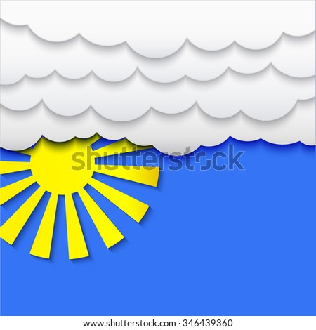 Clouds and sun with shadow on blue sky background, stylized applique cutout paper vector weather backdrop for meteo websites