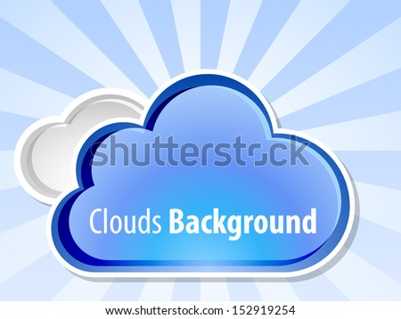 Clouds background with sunshine, vector illustration