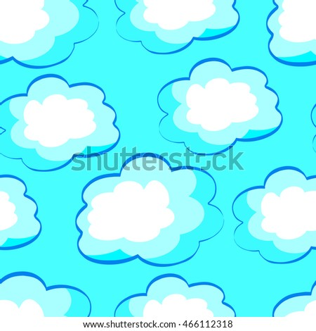 Clouds cartoon seamless pattern, vector illustration