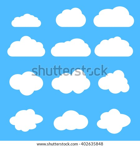 Clouds. Cloud vector. Cloud Icon Vector. Cloudy sky. Clouds blue sky. Cloud background. Clouds lightning. Cloudscape. Clouds sky. Clouds isolated. Cloud set. Weather. Sky. Sky cloud. Sky background - stock vector