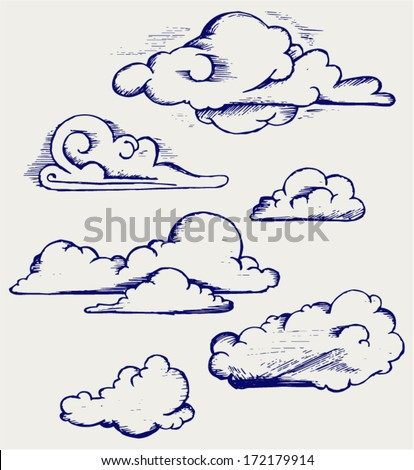 Clouds collection. Doodle style - stock vector