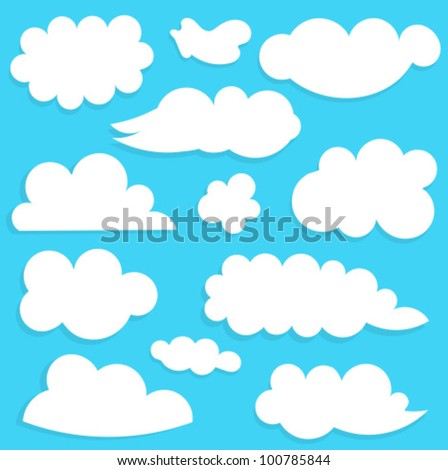 Clouds collection on blue sky. Vector illustration