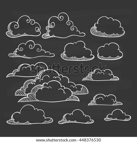 Clouds collection with doodle art on chalkboard background - stock vector