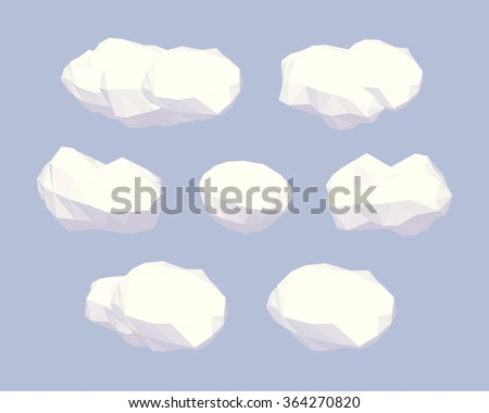 Clouds. 3D lowpoly isometric vector illustration. The set of objects isolated against the blue background and shown from different sides