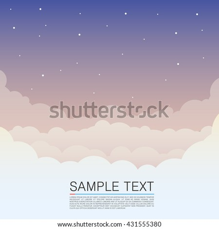 Clouds design over sky background, night sky cover,Vector illustration