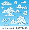 Clouds drawings on blue sky 1 - vector illustration. - stock vector