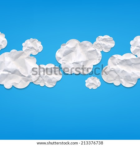 Clouds From Crushed Paper, With Gradient Mesh, Vector Illustration - stock vector