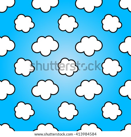 Clouds in blue sky. Nature sunny summer background design