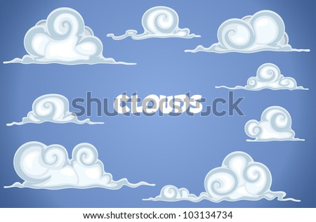 Clouds in blue sky with a place for text - stock vector