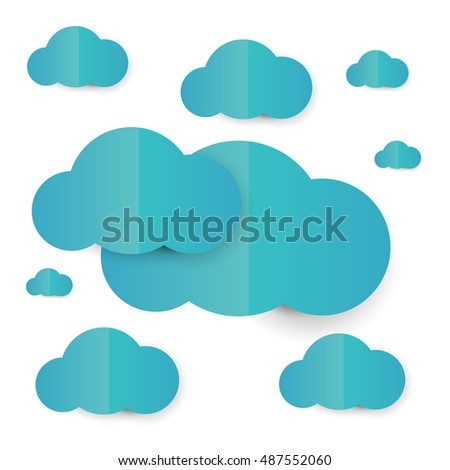 Clouds  in cartoon paper  style on white background. Vector illustration.